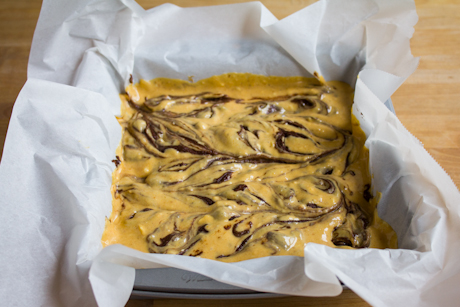 22. Pumpkin cheesecake swirl brownies all ready to go