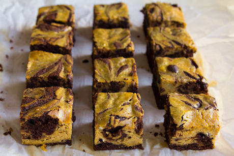 26. Pumpkin cheesecake brownies, all in a row