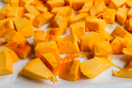 2. Roast cubed pumpkin for 30-40 minutes or until tender.
