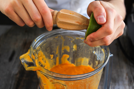 9. Transfer the soup to a blender (while still hot) and add the sugar and lime juice. Blend the soup until it is a thick mixture. Serve with some freshly toasted pumpkin seeds and enjoy.