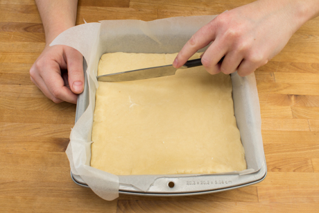 14. Score dough with a knife