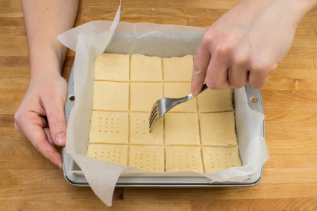 16. Prick shortbread dough with a fork