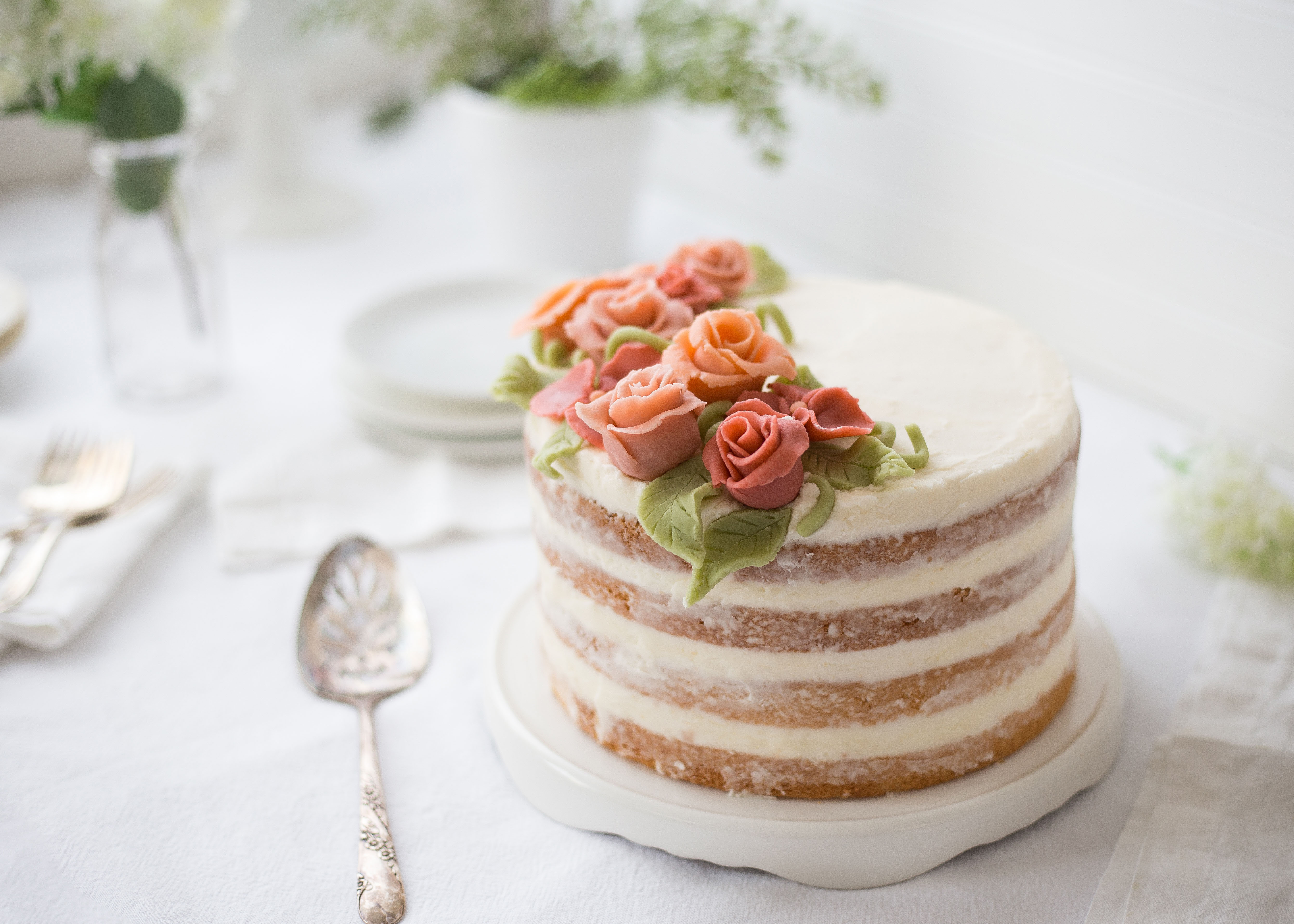 Almond Coconut Naked Cake With Marzipan Flowers Redpath Sugar