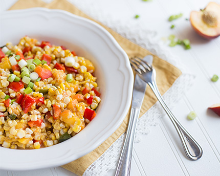Grilled Corn and Peach Salad with Sweet Dressing