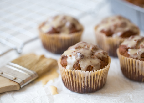 Sweet Potato and Carrot Muffins with Maple Glaze