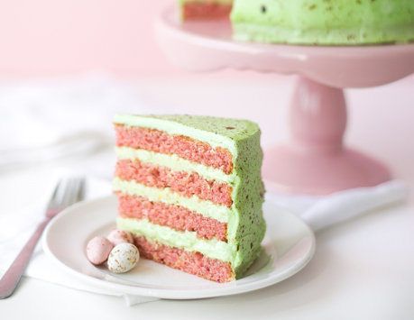 Strawberry Speckled Egg Cake