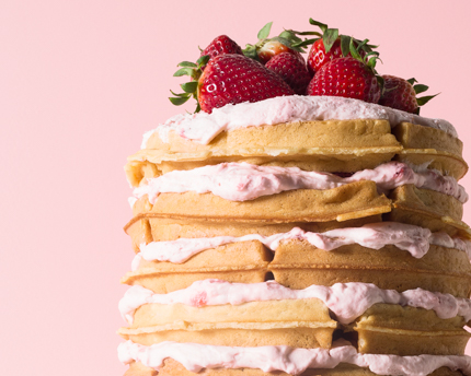 How To: Strawberries & Cream Waffle Cake