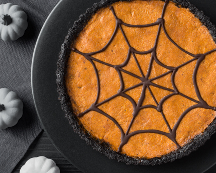 Pumpkin Mousse Tart with Spiderweb