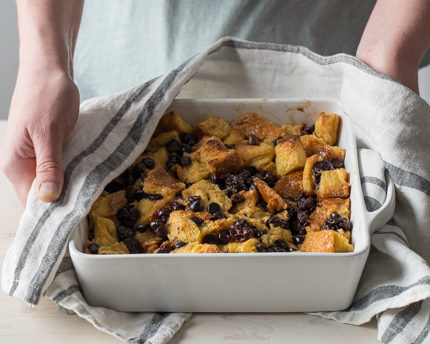 Challah Bread Pudding with Chocolate and Dried Fruit