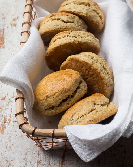 A basket of scones, cut for serving