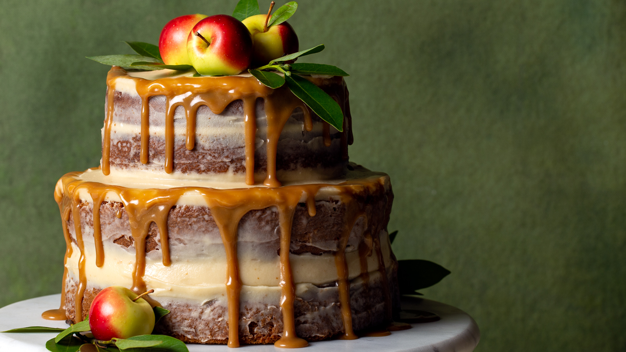 Apple Spice Naked Cake with Salted Caramel Cream Cheese Frosting