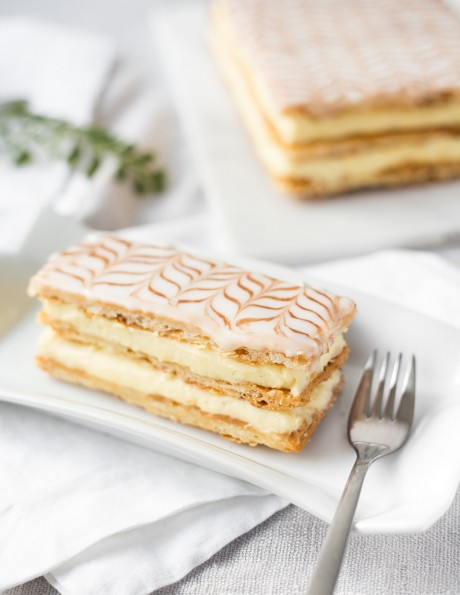 Slice of a mille crepe cake