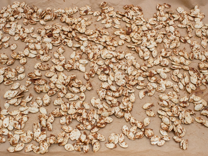 Sugared and seasoned pumpkin seeds spread out on parchment paper