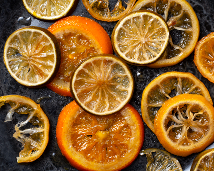 Slices of candied orange and lime