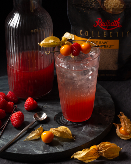 A glass of sparkling shrub cocktail garnished with raspberries and gooseberries beside a jug of raspberry gooseberry shrub shown with loose berries and a spoon