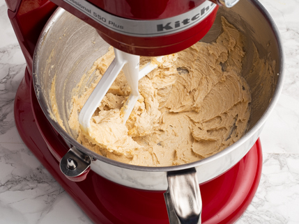 Creamed golden sugar and butter in a stand mixer bowl
