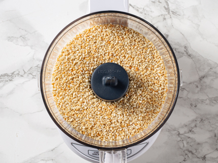 Toasted sesame seeds in a food processor