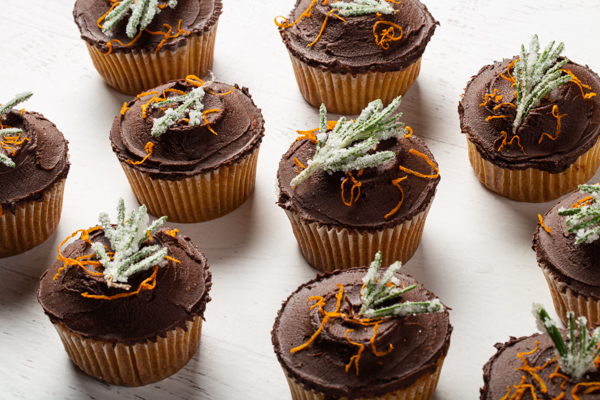 Orange Rosemary Cupcakes With Chocolate Ganache Frosting