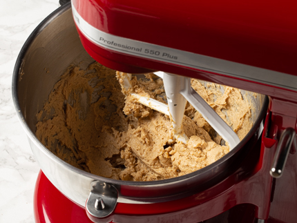 Creamed butter and brown sugar in a stand mixer bowl