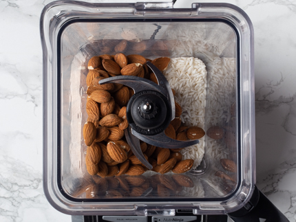 Unprocessed almonds and rice in a blender