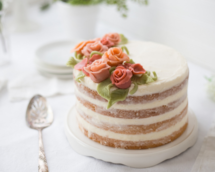 Almond-Coconut Naked Cake with Marzipan Flowers