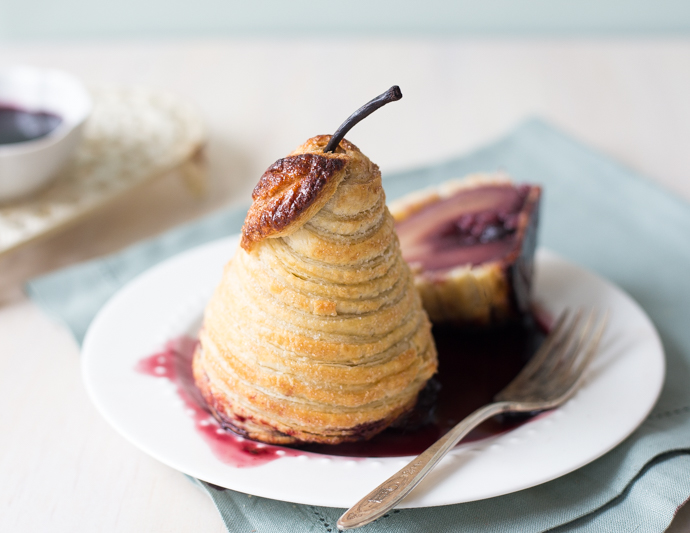 Red Wine Poached Pears in Puff Pastry