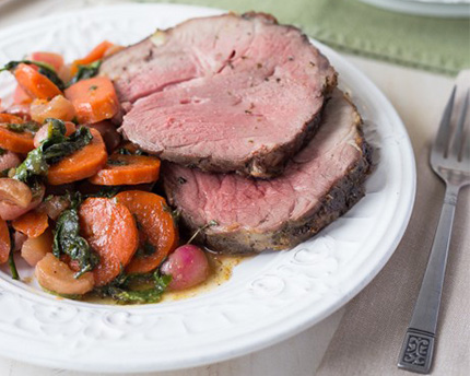 Mint Glazed Leg of Lamb with Candied Vegetables