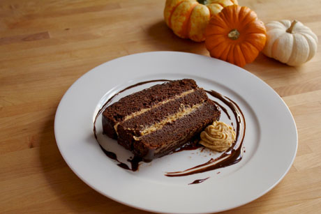 Chocolate Pumpkin Cake with Pumpkin Whipped Cream & Chocolate Ganache