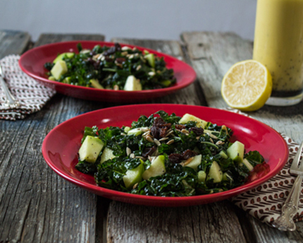Apple Kale Salad with Lemon Poppy Seed Vinaigrette