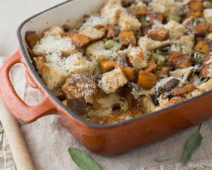 Savoury Pumpkin Bread Pudding