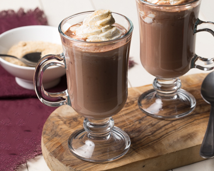 Dark Hot Chocolate with Vanilla Whipped Cream