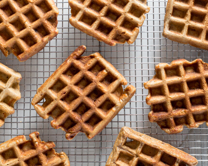 Carrot Cake Waffles on a wire cooling rack