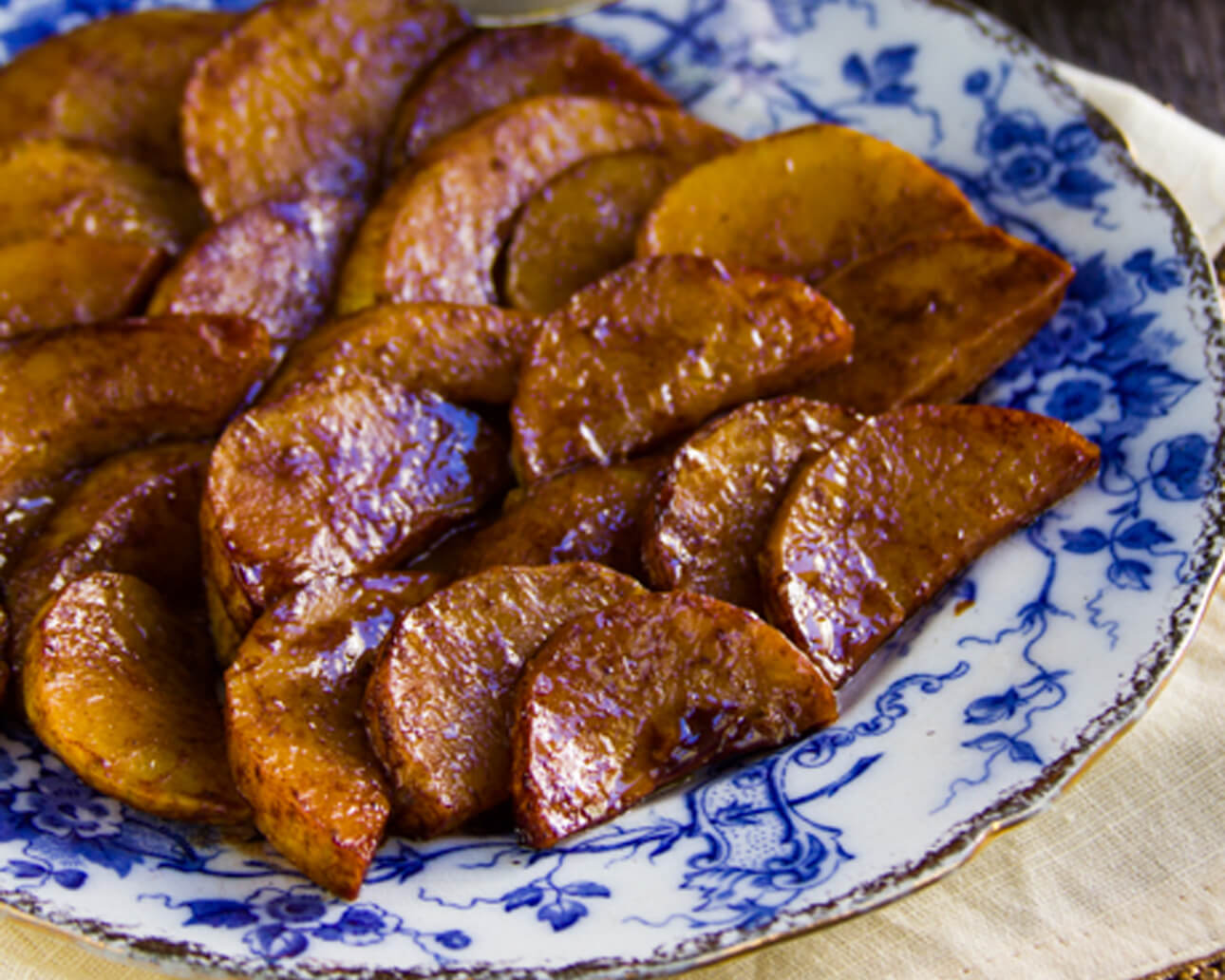 Easy Brown Sugar Glazed Squash on a blue and white plate