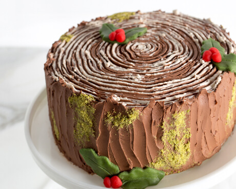 yule log stump cake on a cake plate